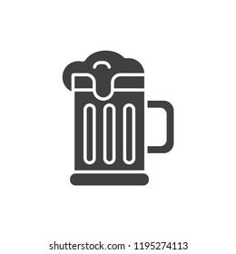 Beer mug black solid icon.