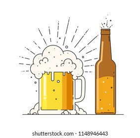 Beer mug with foam and bottle. Sign of alcoholic or nonalcoholic Drink in flat style on a white background.