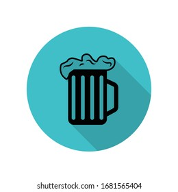 Beer mug with foam long shadow icon. Simple glyph, flat vector of web icons for ui and ux, website or mobile application