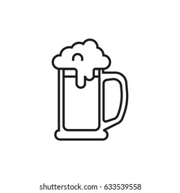 Beer mug with foam outline icon.