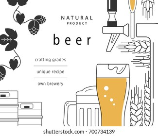 Beer mug, glass, beer tap, kegs, malt and hops. A brochure design template for a brewery, pub, restaurant, bar. Flyer, advertising booklet. Vector linear illustration is cropped with a mask.