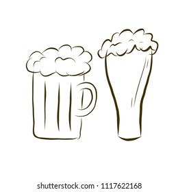 Beer mug and beer glass. Vector illustration