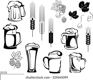 beer, beer mug, hop, vector, illustration, elements of graphic registration