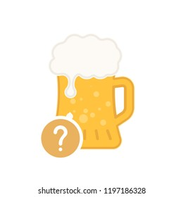 Beer mug icon with question mark. Alcohol beverage icon and help, how to, info, query symbol. Vector illustration