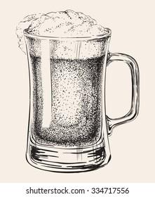 Beer Mug Isolated Hand Drawn Vector Illustration Drinks