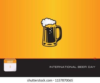 Beer mug on the postcard and International Beer Day. Vector illustration.