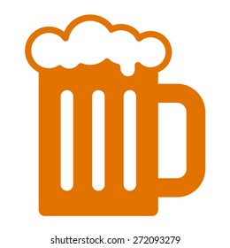 Beer mug or root beer foam glass flat vector icon for apps and websites