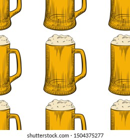 Beer mug seamless pattern. Full beer glasses with foam backdrop. Engraving style. Alcoholic beverage design. Design for fabric, textile print, wrapping paper. Vector illustration