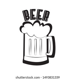 Beer mug silhouette hand drawn illustration graphics vector, with text.