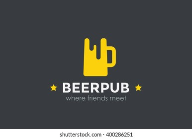 Beer Mug Silhouette Logo design vector template Negative space. Pub Bar Logotype Alcoholic drinks concept icon