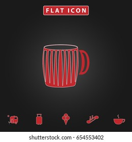 beer mug Simple vector button. Flat icon with stroke on black background and bonus icons