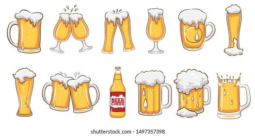 beer mug vector set clipart - Shutterstock ID 1497357398
