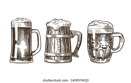 Beer mugs set. Vintage vector engraving illustration for web, poster, invitation to party. Hand drawn design element isolated on white background.