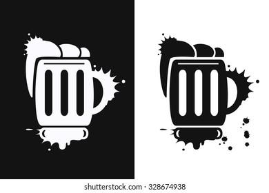 Beer mugs symbol. Oktoberfest vector illustration