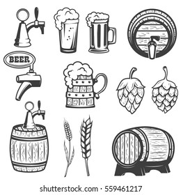 Beer mugs, wooden barrels, hop, wheat. isolated on white background. Design elements for logo, label, emblem, sign, brand mark. Vector illustration