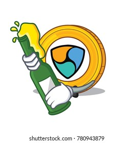 With beer NEM coin character cartoon