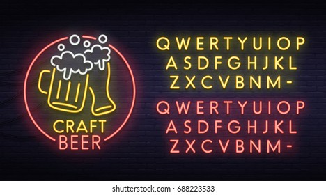 Beer neon sign, bright signboard, light banner. Logo, emblem. Neon sign creator. Neon text edit