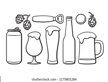 Beer objects set. Beer glasses of different shape, mug, bottle,can, opener, cap and hop cones. Black and white isolated vector illustration.