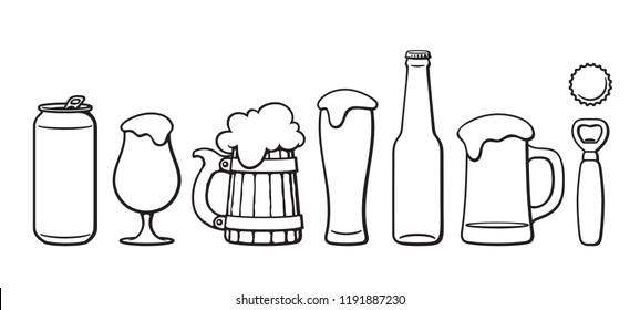 Beer objects set. Beer glasses of different shape, mug, bottle,can, opener, cap. Black and white isolated vector illustration.