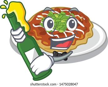 With beer okonomiyaki is served on cartoon plate