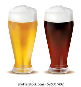 Beer. Oktoberfest. Recreation. A realistic mug. Dark and light.