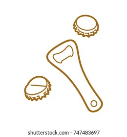 Beer opener and bottle caps icon