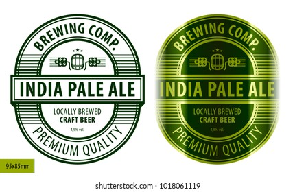 Beer oval label, typographic template, beverage package design