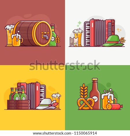 Beer Party Cards Invitation Templates Oktoberfest Stock Vector