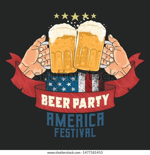 Beer Party Cheers America Flag Usa Stock Vector (Royalty
