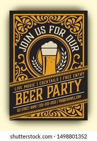 Beer Party Flyer with vintage ornaments