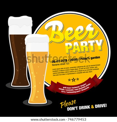 beer party invitation glasses beer sample stock vector royalty free