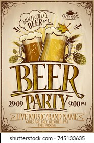 Beer party poster design concept, vintage style