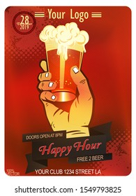 Beer party Promotion flyer, banner or template design with beer glass with a backdrop of abstract mesh red, orange colors. Vintage concept background, template, logo, labels, layout, banner. eps 10