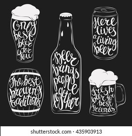 Beer pint glassware and bottle, wooden barrel and steel or aluminium beverage can silhouettes. Lettering with beautiful font or type on mug, stein, jug with cask ale and lager, bright and dark beer.