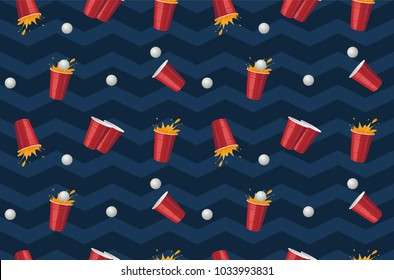 Beer pong cup vector seamless  pattern