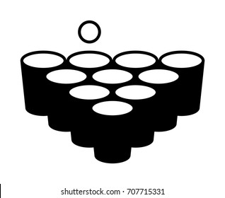 Beer pong or drinking game with cups with ball flat vector icon for apps and websites