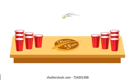 Beer pong game for party on wooden table