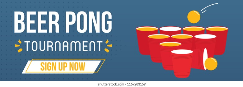 Beer pong game tournament, online registration template, wide horizontal banner, vector illustration for web and print.