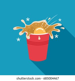 Beer pong illustration of a ping pong ball splashing beer from a red party cup