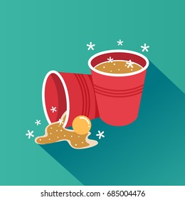 Beer pong illustration showing beer and a ping pong ball spilling out from a red party cup after being knocked down