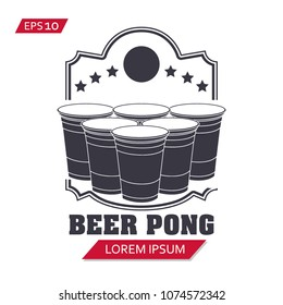 beer pong label vector icon