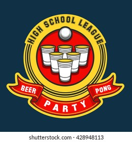 Beer pong party logo or game label. Vector illustration