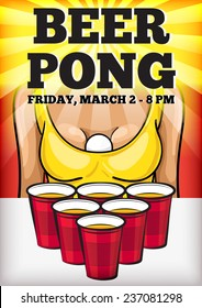 Beer pong party vector poster. Red plastic cups and girl in sexy tank top with a ping pong ball.