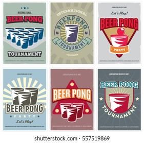 Beer Pong Tournament posters set. Retro collection of colored Beer Pong flyers. Vector illustration.