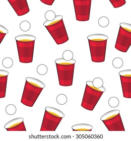Beer pong vector pattern. Red plastic cups and ping pong ball isolated seamless texture.