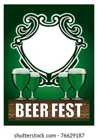 beer poster with cups and shield