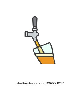 Beer pouring into a glass from a tap flat line colored icon.