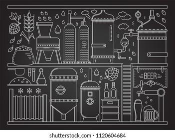 Beer production stage line set. Vector illustration