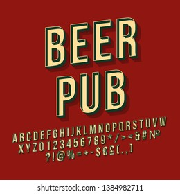 Beer pub 3d vector lettering. Retro bold font. Pop art stylized text. Old school style letters, numbers, symbols pack. Vintage poster, banner, signboard typography design. Dark red color background