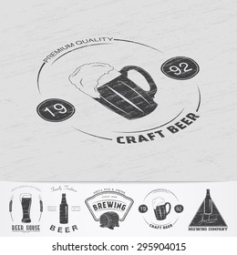 Beer pub. Brewing old school of vintage label. Old retro vintage grunge. Scratched, damaged, dirty effect. Monochrome typographic labels, stickers, logos and badges. Flat vector illustration